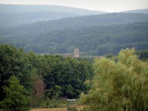 Saônoises vosges - Trees, religious building and hills covered by forests (Ballons des Vosges Regional Nature Park)