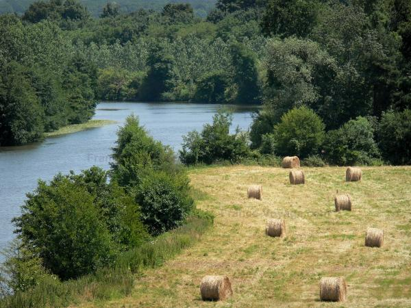 Sarthe valley - Meadow with haystacks and River Sarthe lined with trees