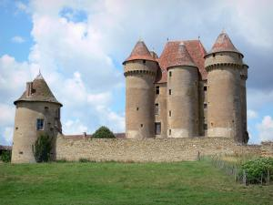 Sarzay castle - Medieval fortress: fortified chapel, walls and stately lodge flanked by towers