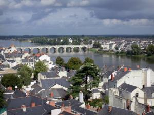 Saumur - View of the roofs of the houses of the city, the Loire River, the bridge, the Offard island and the trees along the water, clouds in the sky (Loire valley)