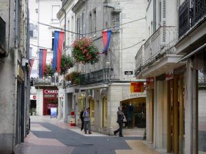 Saumur - Houses and shops of the Saint-Jean street, pennants and flowers