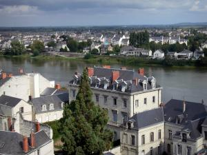Saumur - Houses and buildings lining the Loire River (Loire valley)