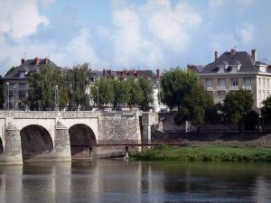 Saumur - Bridge spanning the Loire River, buildings of the Offard island and trees (Loire valley)