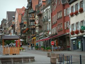 Saverne - Grand'Rue (high street) with fountains and old houses