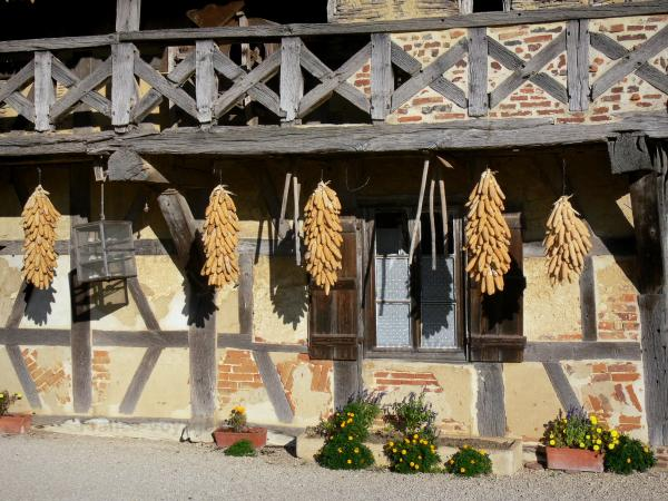 Savoyard Bresse - Forest farm-museum: facade and balcony with wooden braces of the Bressan farmhouse, with ears of corn suspended; in Courtes
