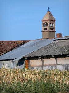 Savoyard Bresse - Bressan farmhouse with Saracen chimney and field; in Vescours
