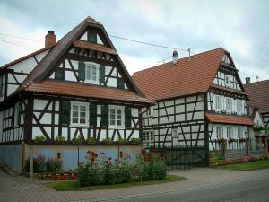 Seebach - White half-timbered houses and flowers