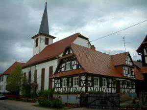 Seebach - White half-timbered house and church of the village