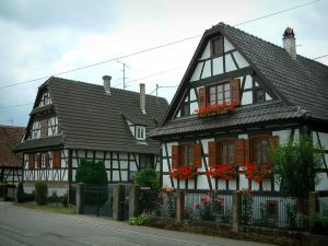 Seebach - White half-timbered houses and windows decorated with flowers