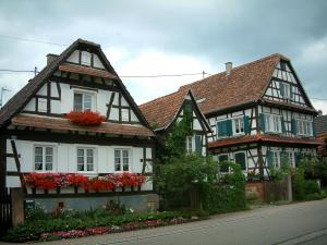 Seebach - White Half-timbered houses decorated with plants and flowers
