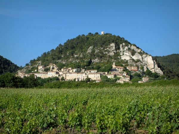 Séguret - Vineyards and houses of the village situated at the bottom of a hill