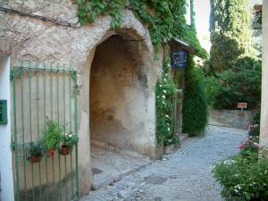 Séguret - Narrow street paved with an arched passage and a house decorated with rosebushes, plants and flowers