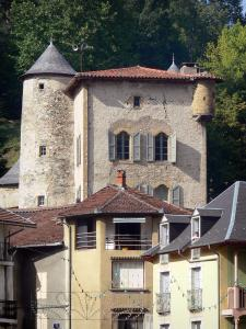 Seix - Château and houses of the village; in Le Couserans area, in the Ariège Pyrenees Regional Nature Park