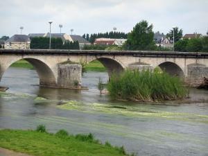 Selles-sur-Cher - Bridge spanning the River Cher and houses of the city in background