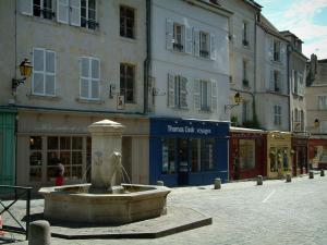 Senlis - Square with fountain, shops and houses