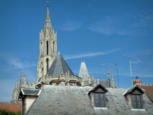 Senlis - Roofs of houses and tower of the Notre-Dame cathedral with it sarrow (Gothic architecture)