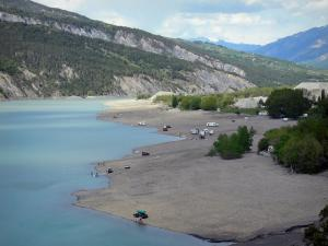 Serre-Ponçon lake - Water reservoir (artificial lake), shores, trees and mountains