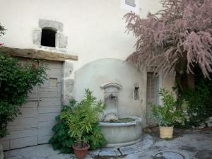 Serres - Fountain, facade of a house and shrubs in jars