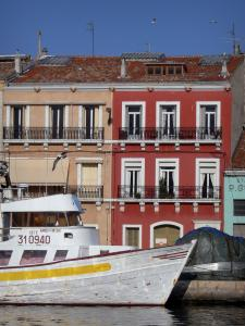 Sète - Houses with colourful facades, flying gull, boat moored to the quay, canal