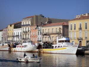 Sète - Boat navigating the canal, fishing boats moored to the quay, houses (some with colourful facades), flying gulls