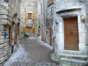 Sévérac-le-Château - Paved street lined with stone houses