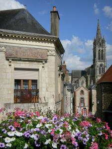 Sillé-le-Guillaume - Flowers in the foreground with a view of the bell tower of the Notre-Dame church and the facades of houses in the town