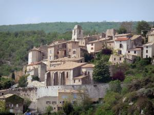 Simiane-la-Rotonde - Saint-Jean bell tower, Sainte-Victoire church and houses of the hilltop Provençal village