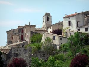 Simiane-la-Rotonde - Saint-Jean bell tower and houses of the Provençal village