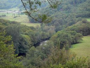 Sioule gorges - River Sioule bordered by trees and meadows