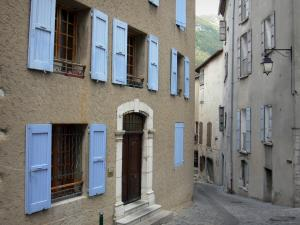 Sisteron - Narrow street of the old town lined with houses
