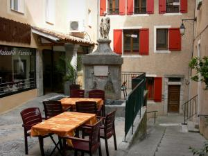 Sisteron - Fountain, café terrace and houses of the old town