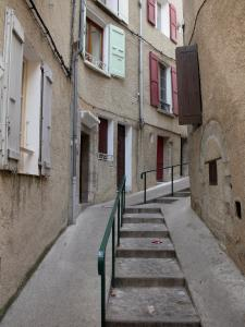 Sisteron - Narrow street in the old town lined with houses