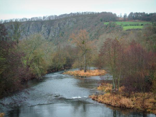 Suisse Normande - Orne valley: river, trees, cliffs (rock faces) and green prairies
