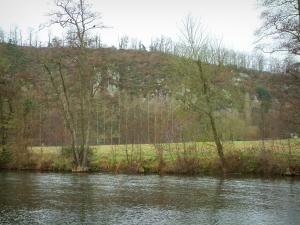Suisse Normande - Orne valley: river, trees, meadow and cliffs (rock faces)