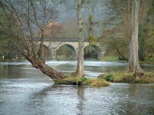 Suisse Normande - Orne valley: river, trees and bridge
