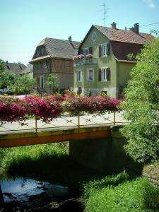 Sundgau - River, small bridge decorated with flowers and houses (village of Hirtzbach)
