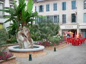 Tarbes - Square with a fountain, flowers and shrubs, café terrace and facades of houses