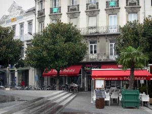 Tarbes - Café terrace, trees and buildings of the Verdun square