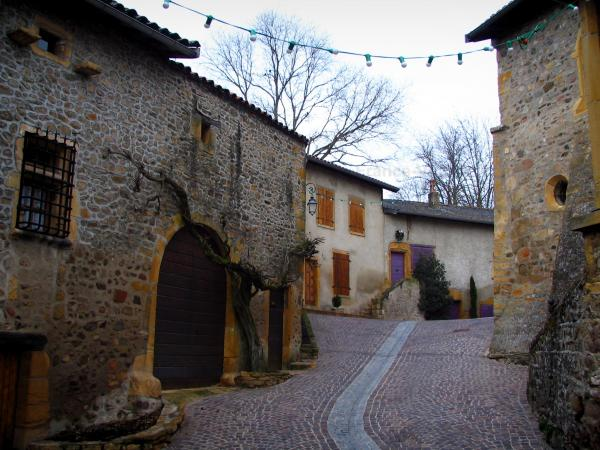 Ternand - Street and houses of the village in the Pierres Dorées (golden stones) area