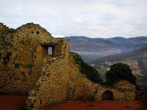 Ternand - Ruins of the castle in the Pierres Dorées (golden stones) area
