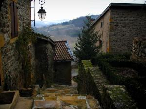 Ternand - Narrow street in stair, lamppost and stone houses in the village in the Pierres Dorées (golden stones) area