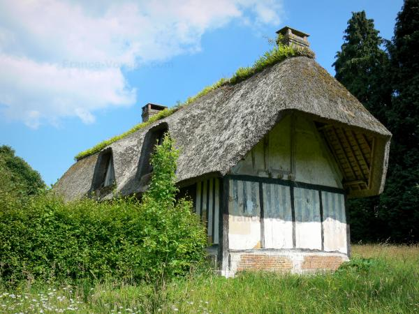 Thatched Cottage Route - Half-timbered house with a thatched roof; in Vieux-Port, in the Norman Seine River Meanders Regional Nature Park