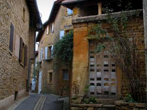 Theizé - Narrow street in the village lined with stone houses in the Pierres Dorées (golden stones) area