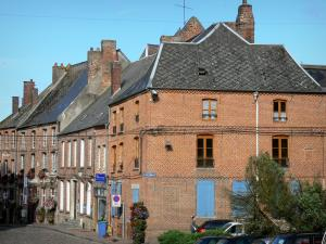 Thiérache - Facades of brick houses in the town of Vervins