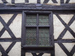 Thiers - Mullions timber-framed window of the Pirou house