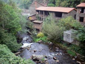 Thiers - Factory Valley (Vallée des Usines): buildings on the river Durolle, trees and vegetation