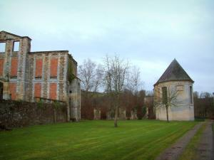 Thury-Harcourt castle - Ruins of the castle, chapel, lawns, and trees in Suisse Normande (an area reminiscent of Switzerland)