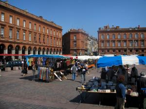 Toulouse - Capitole square with a market and buildings of the old town