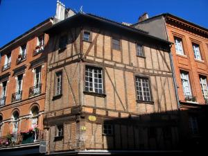 Toulouse - Houses of the old town, ancient  timber-framed house