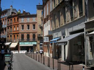 Toulouse - Street, houses and shops in the old town